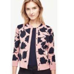 Ann Taylor Pink Navy Tulip Print Cardigan Sweater